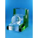 Crystal 3 Layers Pen Stand With Globe (Hong Kong)